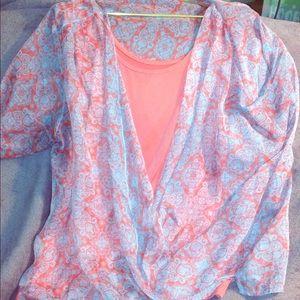 One World printed Chiffon 3/4 sleeve top w/Cami